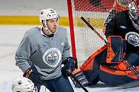 KELOWNA, BC - SEPTEMBER 23: Evan Bouchard #75 of the Edmonton Oilers practices at Prospera Place on September 23, 2019 in Kelowna, Canada. (Photo by Marissa Baecker/Shoot the Breeze)