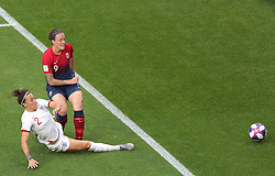 England's Lucy Bronze (left) and Norway's Isabell Herlovsen battle for the ball during the FIFA Women's World Cup, Quarter Final, at Stade Oceane, Le Havre, France.