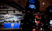 Fotball , 14. mars 2017 ,  pressekonferanse , uttak til Nord-Irland vs Norge<br /> Lars Lagerback og Per Joar Hansen <br /> Lars Lagerbäck , Norway<br /> Nils Johan Semb og Svein Graff
