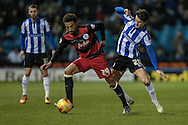 James Perch (QPR) and Kieran Lee (Sheffield Wednesday) during the Sky Bet Championship match between Sheffield Wednesday and Queens Park Rangers at Hillsborough, Sheffield, England on 23 February 2016. Photo by Mark P Doherty.