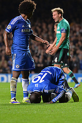 06.11.2013, Stamford Bridge, London, ENG, UEFA CL, FC Chelsea vs FC Schalke 04, Gruppe E, im Bild Chelsea's Demba Ba celebrates scoring, goal // Chelsea's Demba Ba celebrates scoring, goal during UEFA Champions League group E match between FC Chelsea and FC Schalke 04 at the Stamford Bridge in London, Great Britain on 2013/11/06. EXPA Pictures © 2013, PhotoCredit: EXPA/ Mitchell Gunn<br /> <br /> *****ATTENTION - OUT of GBR*****
