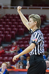 03 January 2014:  Referee Laura Morris stops the action during an NCAA women's basketball game between the Drake Bulldogs and the Illinois Sate Redbirds at Redbird Arena in Normal IL