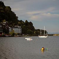 South America, Chile, Puerto Varas. Kayaking on Llanquihue Lake.