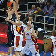 Anadolu Efes's Stanko BARAC (L) during their BEKO Basketball League derby match Galatasaray between Anadolu Efes at the Abdi Ipekci Arena in Istanbul at Turkey on Sunday, November 13 2011. Photo by TURKPIX