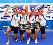 Lucerne SWITZERLAND,  GBR LM4-. Bow Richard CHAMBERS, Peter CHAMBERS, Paul MATTICK nd Rob WILLIAMS. Gold Medalist Lightweight men's four 2011 FISA World Cup on the Lake Rotsee. Sunday   10/07/2011   [Mandatory Credit Peter Spurrier/ Intersport Images]