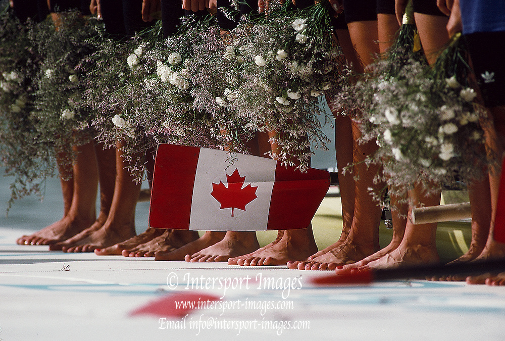 .Barcelona Olympic Games 1992.Olympic Regatta - Lake Banyoles.CAN W8+ Maple leaf from women's eight on awards dock..       {Mandatory Credit: © Peter Spurrier/Intersport Images]..........       {Mandatory Credit: © Peter Spurrier/Intersport Images]..........       {Mandatory Credit: © Peter Spurrier/Intersport Images].........