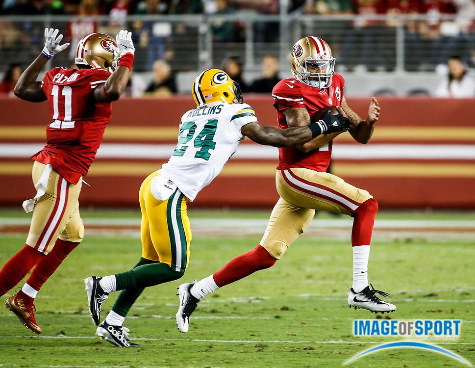 Aug 26, 2016, Santa Clara, CA, USA; San Francisco 49ers quarterback Colin Kaepernick (7) scrambles in the second quarter against the Green Bay Packers in a preseason NFL game at Levi's Stadium. Green Bay beat San Francisco 21-10.