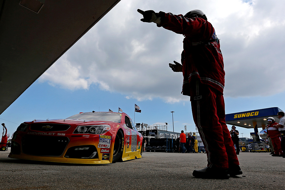Nov 19, 2016; Homestead, FL, USA; NASCAR Sprint Cup Series driver Dale Earnhardt Jr. (88) leaves the garage during practice for the Ford Ecoboost 400 at Homestead-Miami Speedway. Mandatory Credit: Peter Casey-USA TODAY Sports