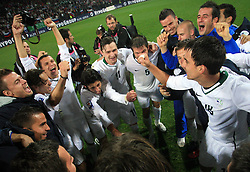 Slovenian players celebrate at the fourth round qualification game of 2010 FIFA WORLD CUP SOUTH AFRICA in Group 3 between Slovenia and Northern Ireland at Stadion Ljudski vrt, on October 11, 2008, in Maribor, Slovenia.  (Photo by Vid Ponikvar / Sportal Images)