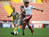 Sheffield United Ladies' Tania Marsden (Right) and Leicester City Ladies' Faith Victoria battle for the ball during the FA Women's Cup First Round match at Bramall Lane Stadium, Sheffield. Picture date: December 4th, 2016. Pic Clint Hughes/Sportimage
