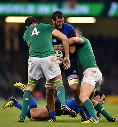 Yoann Maestri of France takes on the Ireland defence - Mandatory byline: Patrick Khachfe/JMP - 07966 386802 - 11/10/2015 - RUGBY UNION - Millennium Stadium - Cardiff, Wales - France v Ireland - Rugby World Cup 2015 Pool D.