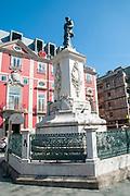 Statue of King Pedro V of Portugal at Batalha Square (Praca da Batalha) in Se civil parish of Porto, Portugal