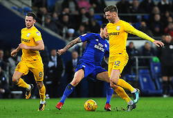 Lee Tomlin of Cardiff City loses the ball to Paul Gallagher of Preston North End - Mandatory by-line: Nizaam Jones/JMP - 29/12/2017 -  FOOTBALL - Cardiff City Stadium - Cardiff, Wales -  Cardiff City v Preston North End - Sky Bet Championship