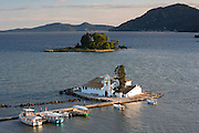 Famous monastery Panagia Vlahernon off Kanoni Peninsula in Kerkyra, Corfu Town, Ionian Islands, Greece
