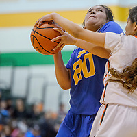 Zuni Thunderbird Courtne Lementino (20) is blocked by Wingate Bear Tyrianne  Hardy (3) Thursday at WIngate High School.