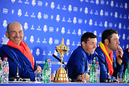 Thomas Bjorn (Team Europe Captain) in media interview after the sunday singles at the Ryder Cup, Le Golf National, Paris, France. 30/09/2018.<br /> Picture Phil Inglis / Golffile.ie<br /> <br /> All photo usage must carry mandatory copyright credit (© Golffile | Phil Inglis)