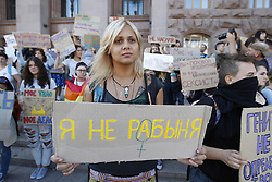 September 17, 2016 - Kiev, Ukraine - Ukrainians feminists,representatives of LGBT (Lesbian, Gay, Bisexual and Transgender) organizations,and their supporters attends march called ''I'm not afraid to act'' in downtown Kiev,Ukraine,17 September,2016. They gathered to express solidarity and support to women victims of violence,and want to remind of the political and human rights of women and demand a full equality of both sexes. (Credit Image: © Str/NurPhoto via ZUMA Press)