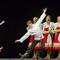 Members of the Moiseyev Dance Company perform during their 75th Anniversary tour in Budapest, Hungary on March 17, 2012. ATTILA VOLGYI