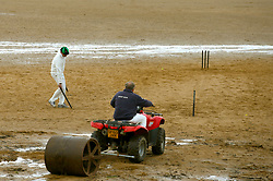 The crease is prepared ahead of the beach cricket match in Elie, between the Ship Inn cricket team, in Elie, Fife and Eccentric Flamingos CC.  The Ship Inn are the only pub in Britain to have a cricket team with a pitch on the beach. The Ship Inn CC season runs from May to September with dates of matches dependent on the tide. They play against a combination of regular opposition from Scotland and touring teams from all over the world. Any Batsman hitting a six which lands in the Ship Inn beer garden wins their height in beer and any non playing spectator who catches a six in the beer garden also wins their height in beer.PRESS ASSOCIATION Photo. Picture date:Sunday April 30, 2017. Photo credit should read: Andrew Milligan/PA Wire.