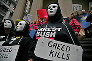 """A protest on Wall Street against the bailout started at 4pm and lasted past 7. Approximately 300 protesters participated. Protesters chanted,<br /> """" You broke it, you bought it""""  and """"bail me out too"""". Many shook cans of change. There was a police presence but it was light. The protestors warned they would be back."""