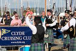 Day three of the Silvers Marine Scottish Series 2016, the largest sailing event in Scotland organised by the  Clyde Cruising Club<br /> Racing on Loch Fyne from 27th-30th May 2016<br /> <br /> Pipe band and families<br /> <br /> Credit : Marc Turner / CCC<br /> For further information contact<br /> Iain Hurrel<br /> Mobile : 07766 116451<br /> Email : info@marine.blast.com<br /> <br /> For a full list of Silvers Marine Scottish Series sponsors visit http://www.clyde.org/scottish-series/sponsors/