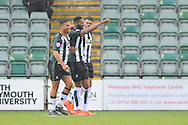 Plymouth Argyle's Jamille Matt celebrates scoring his goal to give the home team a 1-0 lead during the Sky Bet League 2 match between Plymouth Argyle and York City at Home Park, Plymouth, England on 28 March 2016. Photo by Graham Hunt.
