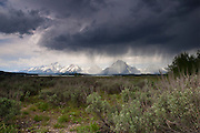 A severe hailstorm passes over the mountains of Grand Teton National Park, Wyoming. Severe weather is common over the mountains in summer.