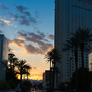 Las Vegas street scene in the sunset