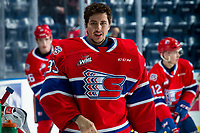 KELOWNA, BC - JANUARY 31: Lukáš Pařík #33 of the Spokane Chiefs stands at the bench during warm up against the Kelowna Rockets at Prospera Place on January 31, 2020 in Kelowna, Canada. Pařík is a 2019 NHL entry draft pick of the Los Angeles Kings. (Photo by Marissa Baecker/Shoot the Breeze)