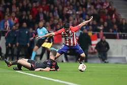 May 3, 2018 - Madrid, Spain - DIEGO COSTA of Atletico de Madrid duels for the ball with SHKODRAN MUSTAFI of Arsenal FC during the UEFA Europa League, semi final, 2nd leg football match between Atletico de Madrid and Arsenal FC on May 3, 2018 at Metropolitano stadium in Madrid, Spain (Credit Image: © Manuel Blondeau via ZUMA Wire)