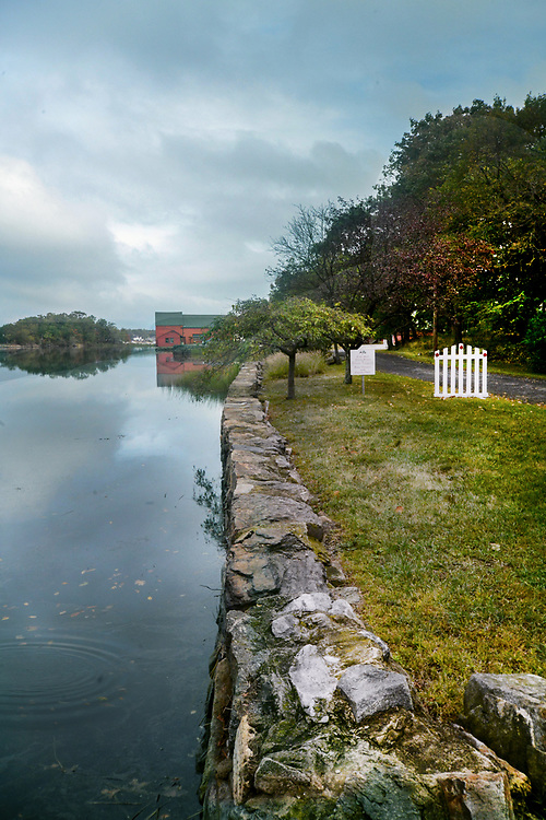 Kirby Lane, Rye, New York on a cloudy day. Back country roads and bridges in New England.