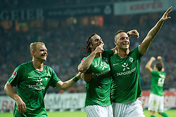 10.09.2011, Weser Stadion, Bremen, GER, 1.FBL, Werder Bremen vs Hamburger SV, im Bild.1:0 durch Claudio Pizarro (Bremen #24) Jubel und Andreas Wolf (Bremen #23).// during the Match GER, 1.FBL, Werder Bremen vs Hamburger SV on 2011/09/10,  Weser Stadion, Bremen, Germany..EXPA Pictures © 2011, PhotoCredit: EXPA/ nph/  Kokenge       ****** out of GER / CRO  / BEL ******