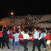 Turkish soccer National team come back to Turkey World Cup 2002 . Turkey's fan during their in Ataturk Airport in Istanbul/TURKEY.<br /> Photo by Aykut AKICI/TurkSporFoto