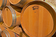New oak barrels to age the wine  Chateau de Pressac St Etienne de Lisse  Saint Emilion  Bordeaux Gironde Aquitaine France