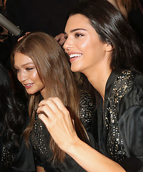 November 8, 2018 - New York, New York, United States - Models Gigi Hadid (L) and Kendall Jenner have their hair and make-up done prior to the Victoria's Secret Runway show on November 8 2018 in New York City  (Credit Image: © Philip Vaughan/Ace Pictures via ZUMA Press)