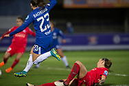 Chelsea Ladies Romana Bachmann (23) rides the tackle during the UEFA Women's Champions League quarter final second leg match between Chelsea Ladies and Montpellier Feminines at the Kings Sports Ground, New Malden, United Kingdom on 28 March 2018. Picture by Robin Pope.