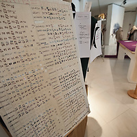 "MILAN, ITALY - JULY 13:  List of ballet dancers measurements and a dress maker dummy in a reconstruction of the atelier of La Scala on display at Palazzo Morando on July 13, 2010 in Milan, Italy. The exhibition ""Il Costume veste la Musica"" open until September 12th features more than 50 costumes and accessories chosen among the most significant pieces made for opera and ballet by the atelier of La Scala"