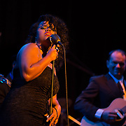 """Singer """"Honeychild"""" performs with Vaud and the Villains at The Music Hall in Portsmouth, NH. July 2012."""