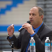 Troy Webb, principal of McCoy Elementary School in Aztec talks about the relationship between the Superintendent and individual school principals during the superintendents candidate forum in Zuni Thursday.