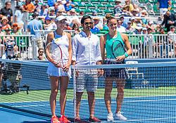 August 5, 2018 - San Jose, CA, U.S. - SAN JOSE, CA - AUGUST 05: Mihaela Buzarnescu (ROU) and Maria Sakkari (GRE) are introduced before the WTA Singles Championship at the Mubadala Silicon Valley Classic  at the San Jose State University Stadium Court in San Jose, CA  on Sunday, August 5, 2018. (Photo by Douglas Stringer/Icon Sportswire) (Credit Image: © Douglas Stringer/Icon SMI via ZUMA Press)