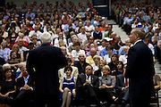 Sen. John McCain (L) and fellow Republican Sen. Lindsay Graham address the audience at the start of a health care town hall meeting September 14, 2009 at the Citadel in Charleston, SC.