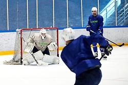 Luka Gracnar and Anze Kopitar during team Slovenia practice at IIHF World Championship DIV. I Group A Kazakhstan 2019, on May 4, 2019 in Barys Arena, Nur-Sultan, Kazakhstan. Photo by Matic Klansek Velej / Sportida