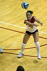 19 AUG 2006  Redbird Kelly Waterstraat returns a strike. Northern Illinois Huskies got slammed by Illinois State Redbirds, losing the match 3 games to 1. Game action took place at Redbird Arena on the campus of Illinois State University in Normal Illinois.