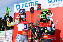 Marte Monsen (NOR) and Zrinka Ljutic (CRO) during giant slalom race at FIS European Cup Krvavec 2021, February 2, 2021 in Krvavec, Cerklje na Gorenjskem, Slovenia. Photo by Matic Klansek Velej / Sportida