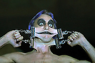 Preview photographs of the Circus of Horrors which opens on the Edinburgh Festival Fringe tonight and runs until 27th August at Leith Links. Picture shows performer Gary Stretch, who can contort his face due to a rare medical condition which affects only 10 people throughout the world. His act is part of the Circus Freakshow.........