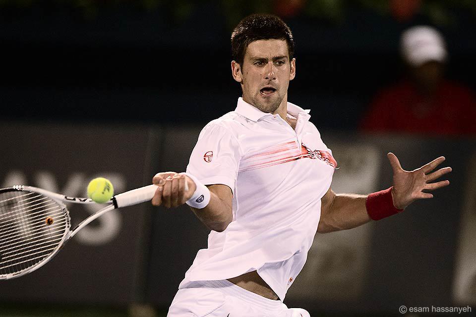 Novak Djokovic playing as the Barclays Mens Championships in Dubai on his way to winning the tournament.