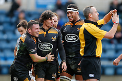 Wasps Outside Centre Ben Jacobs celebrates with Hooker Edd Shervington and Number 8 Nathan Hughes after scoring a try - Photo mandatory by-line: Rogan Thomson/JMP - 07966 386802 - 14/12/2014 - SPORT - RUGBY UNION - High Wycombe, England - Adams Park Stadium - Wasps v Castres Olympique - European Rugby Champions Cup Pool 2.