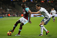 Michail Antonio of West Ham United blocking the ball from Matteo Darmian of Manchester United. Premier league match, West Ham Utd v Manchester Utd at the London Stadium, Queen Elizabeth Olympic Park in London on Monday 2nd January 2017.<br /> pic by John Patrick Fletcher, Andrew Orchard sports photography.