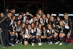 May 19, 2019 - Turin, Turin, Italy - Juventus Women players celebrate the winning of the Italian championship 2018-2019 and raising the trophy during the serie A match between Juventus FC and Atalanta BC at Allianz Stadium on May 19, 2019 in Turin, Italy. (Credit Image: © Giuseppe Cottini/NurPhoto via ZUMA Press)