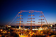The Russian tall ship Pallada, on a friendship tour of the North Pacific, at port overnight in Victoria, British Columbia, Canada. The 354 foot, three-masted frigate is considered the world's fastest sailing ship (18.7 knots).